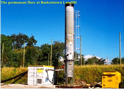 The permanent gas flare at Basketstown Landfill.